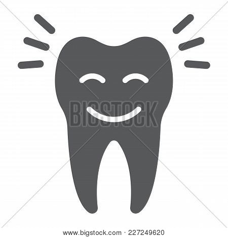 Smiling Tooth Glyph Icon, Stomatology And Dental, Cleaned Tooth Sign Vector Graphics, A Solid Patter