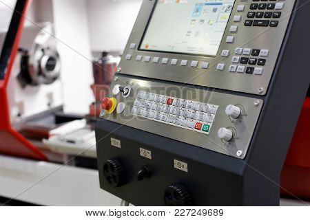 Control Panel Of The Cnc Machining Center. Selective Focus.