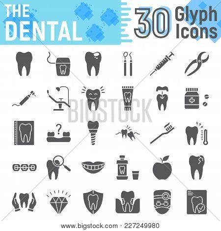 Dental Glyph Icon Set, Stomatology Symbols Collection, Vector Sketches, Logo Illustrations, Dental C