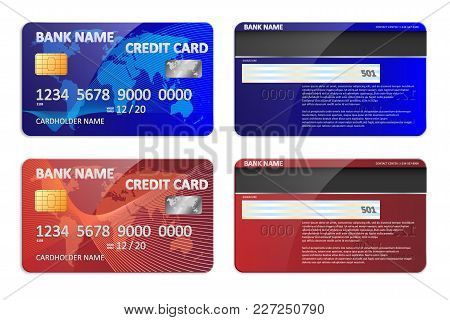 Realistic Blue And Red Bank Credit Card Template Isolated. Bank Plastic Credit Card Mockup With Colo