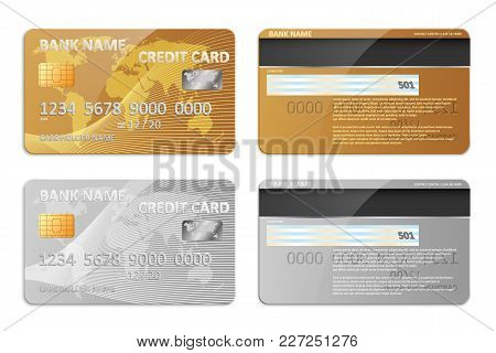 Realistic Detailed Credit Cards Set With Colorful Abstract Design Background. Golden Credit Card. Si
