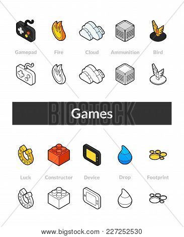 Set Of Isometric Icons In Otline Style, Colored And Black Versions, Vector Symbols - Games Collectio