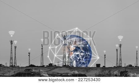 Telecommunication Towers With Wifi Signal Sign And Global Network Connection. Element Of This Image