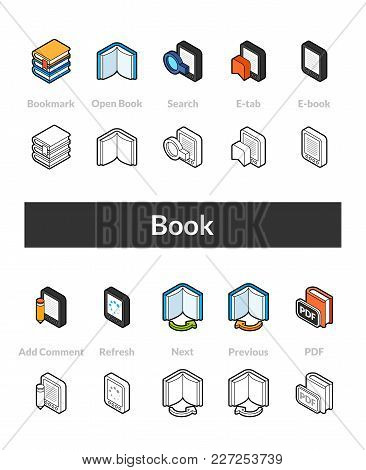 Set Of Isometric Icons In Otline Style, Colored And Black Versions, Vector Symbols - Book Collection