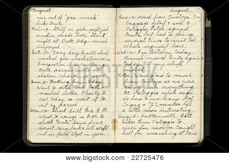 World War One American Soldier's Diary Pages