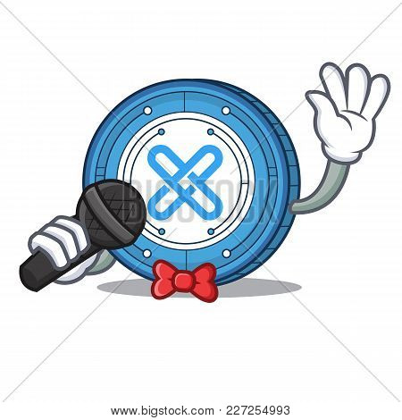 Singing Gxshares Coin Mascot Cartoon Vector Illustration
