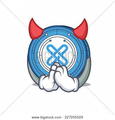 Devil Gxshares Coin Mascot Cartoon Vector Illustration
