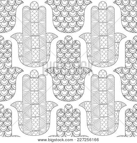 Hamsa Hand. Black And White Seamless Pattern For Coloring Page. Decorative Amulet For Good Luck And