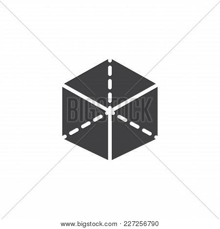 3d Cube With Projection Vector Icon. Filled Flat Sign For Mobile Concept And Web Design. Box Simple