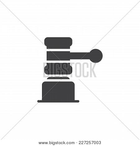 Judge Gavel Vector Icon. Filled Flat Sign For Mobile Concept And Web Design. Law Simple Solid Icon.