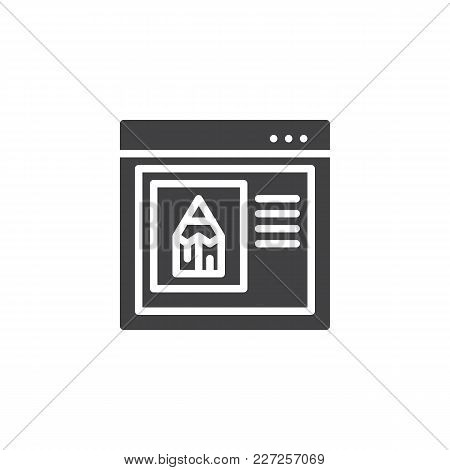 Internet Browser With Pencil Vector Icon. Filled Flat Sign For Mobile Concept And Web Design. Edit W