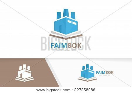 Vector Book And Factory Logo Combination. Industry And Market Symbol Or Icon. Unique Bookstore, Libr