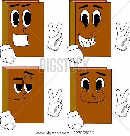 Books Showing The V Sign. Cartoon Book Collection With Happy Faces. Expressions Vector Set.