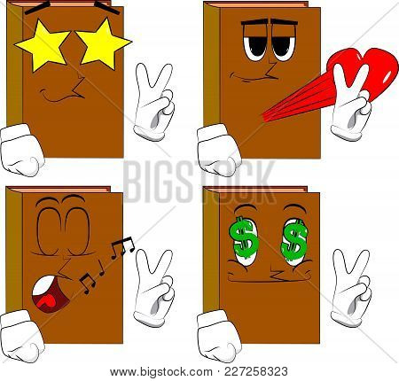 Books Showing The V Sign. Cartoon Book Collection With Various Faces. Expressions Vector Set.