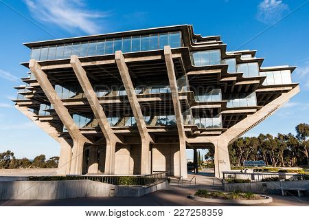La Jolla, California - February 17, 2018:  The Geisel Library At Ucsd, Built In 1970, Is Named In Ho