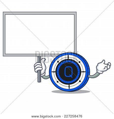 Bring Board Qash Coin Character Cartoon Vector Illustration
