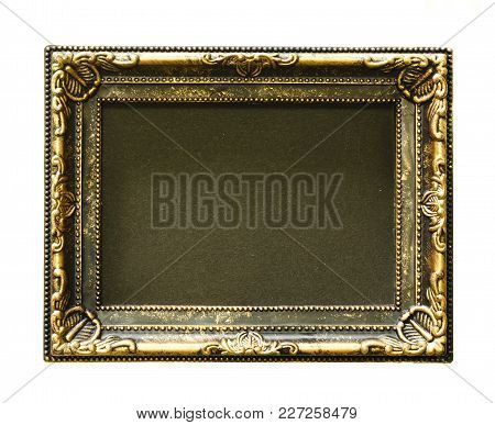 Gold Frame. Gold/gilded Arts And Crafts Pattern Picture Frame. Isolated On White. Space Is Black.