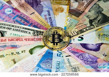 Cryptocurrency Conceptual Image Of Bitcoin Internationalism And Safety. Security Currency Bitcoin Ph