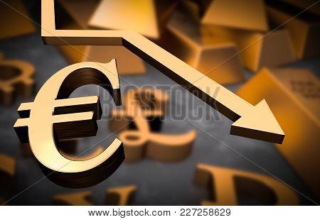 Golden Euro Symbol And Golden Arrow Down - Euro Money Fall Concept