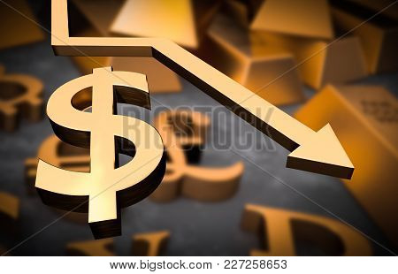 Golden Dollar Symbol And Golden Arrow Down - Dollar Money Fall Concept