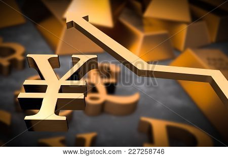 Golden Yen Symbol And Golden Arrow Up - Yen Money Rise Concept