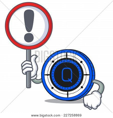 With Sign Qash Coin Character Cartoon Vector Illustration