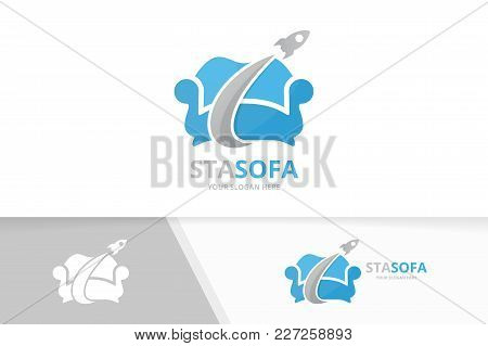 Vector Sofa And Rocket Logo Combination. Couch And Airplane Symbol Or Icon. Unique Armchair And Flig