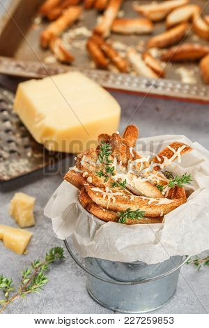 Toast Bread Crumbs With Cheese And Thyme. Beer Or Soup Snack. Selective Focus