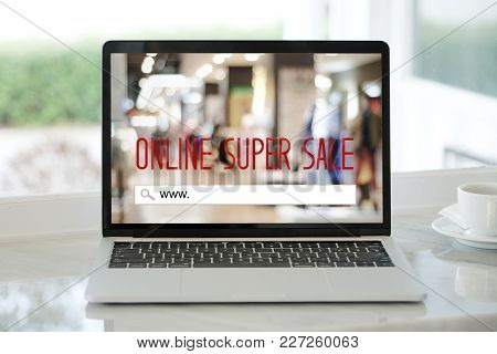 Laptop Computer With Www. On Search Bar Over Super Sale Banner Background, Shopping Online, Business
