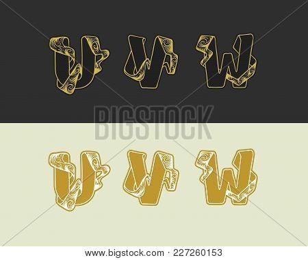 Vector Decorative Sketch Alphabet Set Of Uppercase Letters. Gold Elegant Letter U, V, W. Font Of Int
