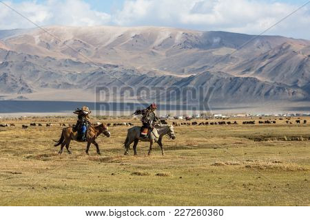 SAGSAY, MONGOLIA - SEP 28, 2017: Berkutchi (Eagle Hunters) on the horses while hunting to the hare with a golden eagles on his arms in the mountains of Bayan-Olgii aimag.