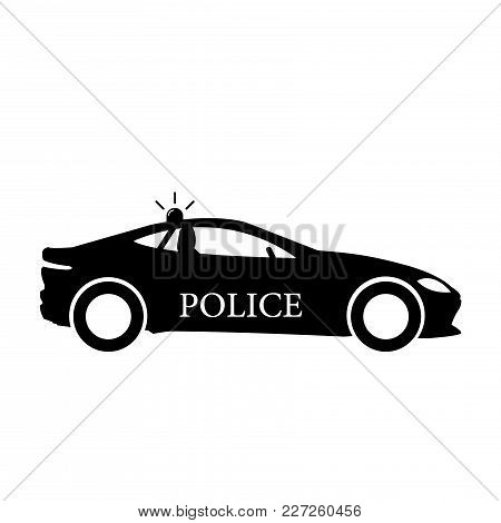 Police Car Icon, Vector Isolated Flat Illustration. Front View.