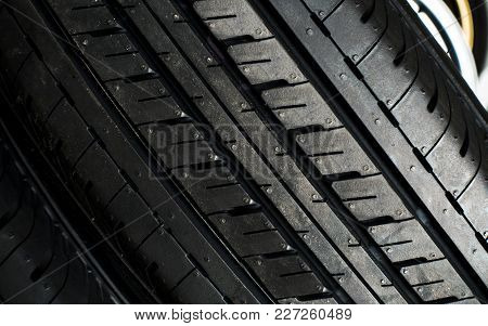 Close Up Tyre For Sell Texture Background With Space Use For Texts Or Something Display