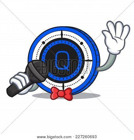 Singing Qash Coin Mascot Cartoon Vector Illustration
