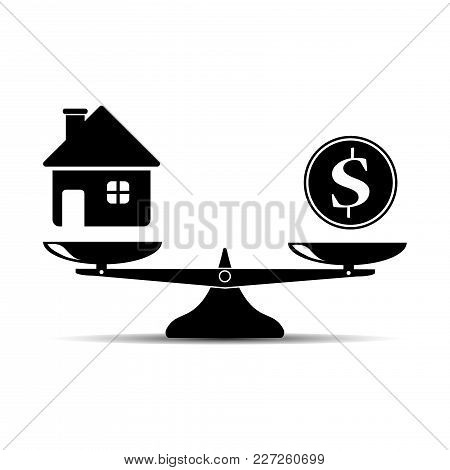 Money And House Scales Icon. Dollar Coin And House Balance On Scale. Real Estate Sale. Weights With