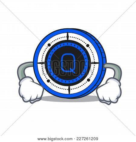 Angry Qash Coin Mascot Cartoon Vector Illustration