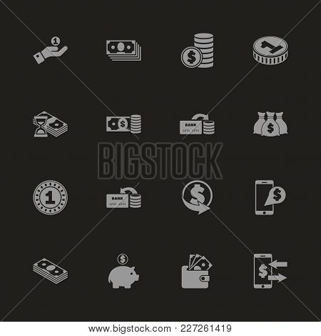 Currency Icons - Gray Symbol On Black Background. Simple Illustration. Flat Vector Icon.