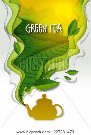 Ceramic Teapot With Spilling Aromatic Green Tea And Tea Leaves. Vector Illustration In Paper Art Sty