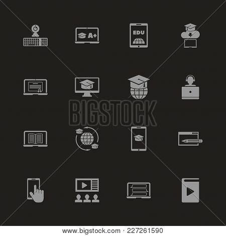 Online Education Icons - Gray Symbol On Black Background. Simple Illustration. Flat Vector Icon.