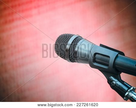 Microphone In Karaoke Room Or Conference Room. With Place Your Text On Background