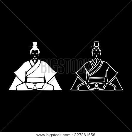 Emperor Of China Set White Icon Set White Color Vector Illustration Flat Style Simple Image