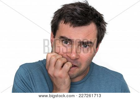 Nervous Man Biting His Nails Isolated On White - Nervous Breakdown Concept