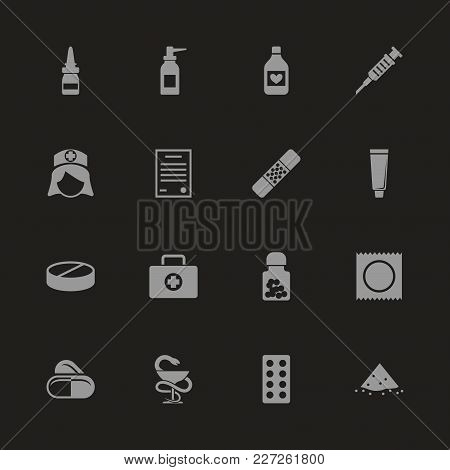 Pharmacy Icons - Gray Symbol On Black Background. Simple Illustration. Flat Vector Icon.