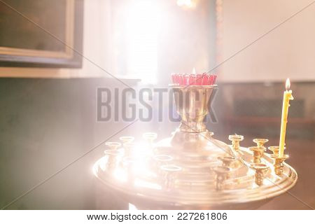 Accessories For The Christening Of Children Icons Of Candles And Font, The Ortodox Church. The Sacra