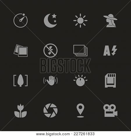 Photo Mode Icons - Gray Symbol On Black Background. Simple Illustration. Flat Vector Icon.