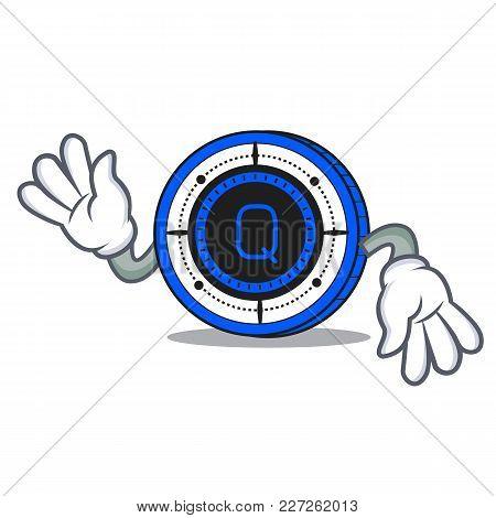 Crazy Qash Coin Mascot Cartoon Vector Illustration