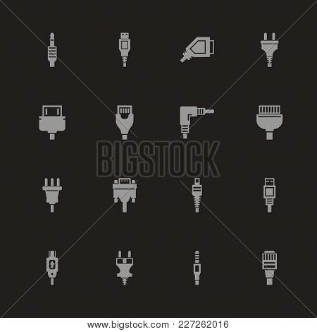 Plug Icons - Gray Symbol On Black Background. Simple Illustration. Flat Vector Icon.