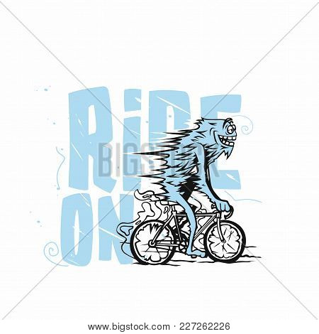 A Lue Man Riding Bicycle On White Background With Blue Typography Vector Illustration Design.