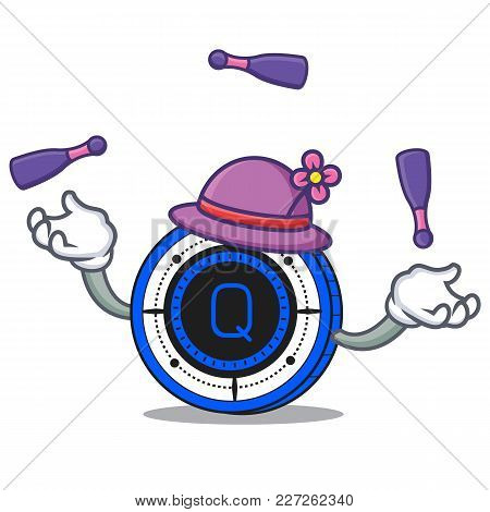 Juggling Qash Coin Mascot Cartoon Vector Illustration