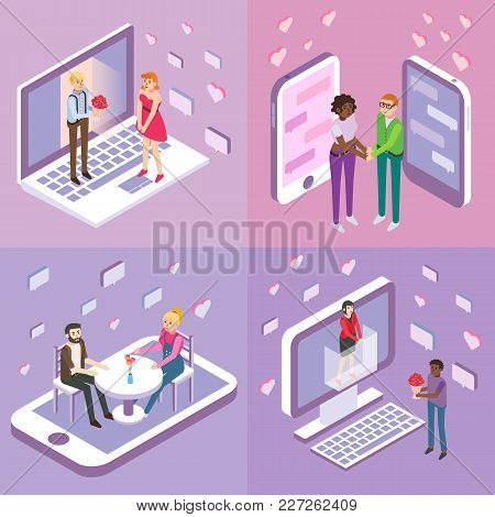 Online Dating Vector Flat Isometric Poster, Banner Set. Single Women And Men Looking For Love And Ro